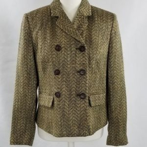 Oscar De La Renta Double Breasted Tweed Blazer